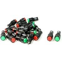 20 Piezas AC 220V Rojo Verde Redondo Tapa Luz Indicadora De Lámpara Piloto