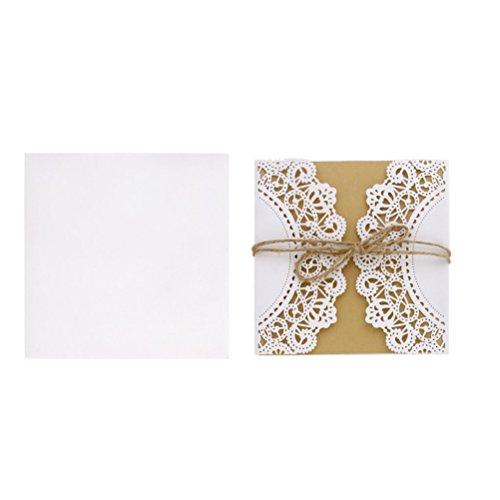 LUOEM 10Pcs Hochzeit Einladungskarte Europäischen Stil mit Umschlag Seile