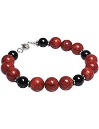 Armband aus Koralle & Onyx & 925er Silber schwarz rot Armkette Armschmuck