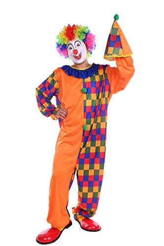 NiSeng Herren Kostüm Clown karierte Faschingskostüm Mehrfarbig Cosplay Kostüme Clownkostüm erwachsene Horrorclown Orange (Horrorclown Kostüme)