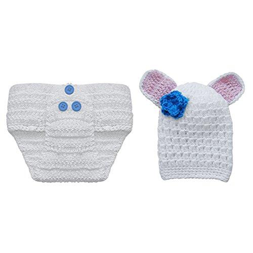 YiZYiF Foto Fotografie Props Tier Bunny Baby Mädchen Jungen Kostüm Nette Häschen Stricken Handarbeit Kostüme (Weiß & Blau Blumen)