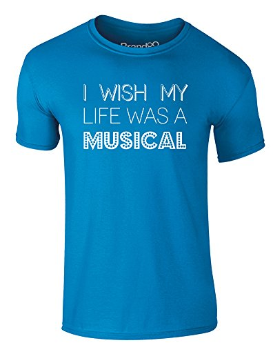 Brand88 - I Wish My Life Was A Musical, Erwachsene Gedrucktes T-Shirt Azurblau/Weiß
