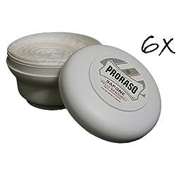 6x PRORASO Rasierseife Tiegel 150ml grüner Tee Sensible Haut beruhigend Weiß