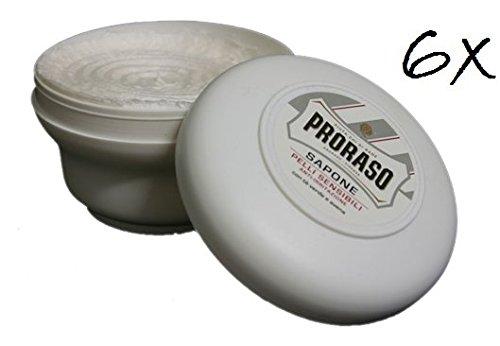 6x PRORASO Rasierseife Tiegel 150ml grüner Tee Sensible Haut beruhigend Weiß -