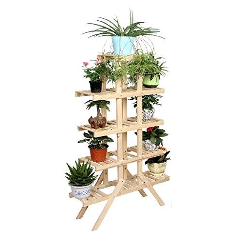 JE Sol en bois massif - Style Porte-fleurs Racks Bonsai Étagères multifonctions Salle de séjour Balcon L * H: 84 * 145cm