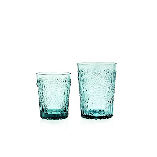 Wasserglas Trinkglas Saftglas'Fleur de Lys' Recycled Glas Fairtrade Ecoglas 200 ml (türkisblau)
