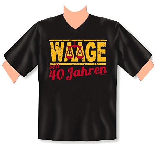 V-Neck T-Shirt ::: Waage seit 4Jahren ::: zum Geburtstag Schwarz
