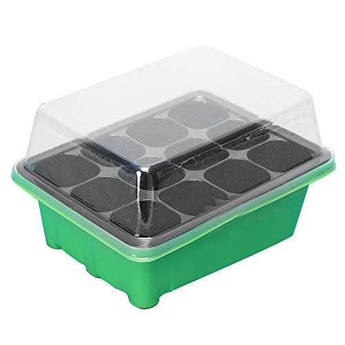 Austinstore Pflanzenkasten, 12 Zellen, für Saatgut, Pflanzen, Pflanzen, Pflanzgefäß, Pflanzkasten Grün/Schwarz