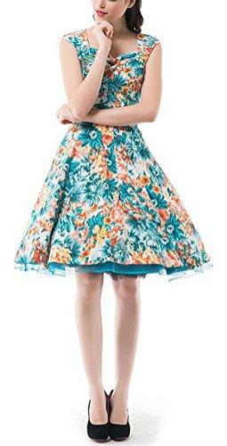 SMITHROAD Damen Retro Kleid 50er Jahre Rockabilly Swing Hochzeit Abschlussballkleid Abend Cocktail Polka Dots Orange