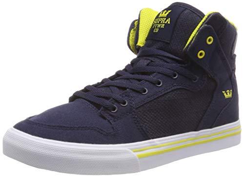 Supra Unisex-Kinder Vaider Hohe Sneaker, Blau (Navy/Yellow-White 489), 39 EU (Mädchen Für Schuhe Supra)