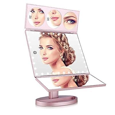 EASEHOLD Makeup Spiegel, Schminkspiegel mit 35 Led Spiegel Licht, 4 Vergrößung Modi 1X / 3X / 5X/ 10X, Klappbarer Tischspiegel, Beleuchteter Standspiegel, 360° Drehung für Schönheit, Rosa-golden