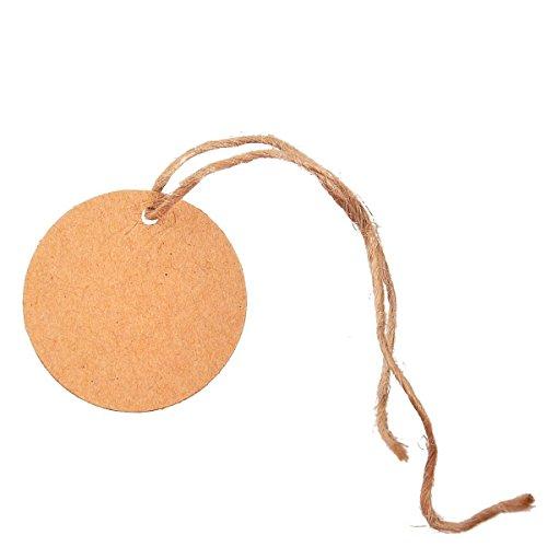 """Mr-Label Favor retrò rotondo, multifunzione, a forma di etichette all """"ingrosso, in Carta Kraft, ideale per matrimoni, etichette da regalo natalizia, decorazione per Baby Shower, confezione da 100 pezzi, con Spago di iuta naturale, di 100 etichette, dimensioni: 40 x 40 mm/3,99 cm *(1,57 3,99 (1,57 cm)"""