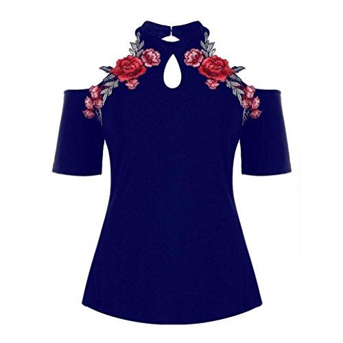 Sweatshirt Damen Kolylong® Frauen Elegant Rose Stickerei Trägerlos Kurzarm  Blusen Schulterfreies Shirt Neckholder Top Festlich 94852af6ab