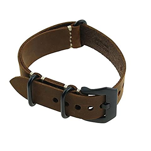 omyzam Watch Strap with Crazy Horse leather Large Black Buckle