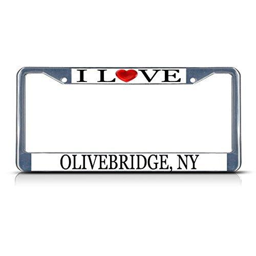 Nummernschild Rahmen I LOVE Herz olivebridge NY Aluminium Metall Nummernschild Rahmen