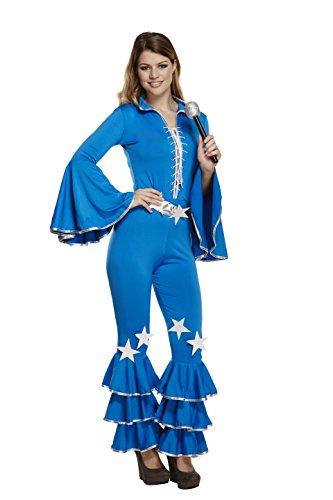 Emmas Garderobe 70er Jahre Kostüm für Retro-Party - Blau-Overall-Outfit in UK Größe 8-12 (Women: 36, Blue) (Womens Kostüme Ist 1970)