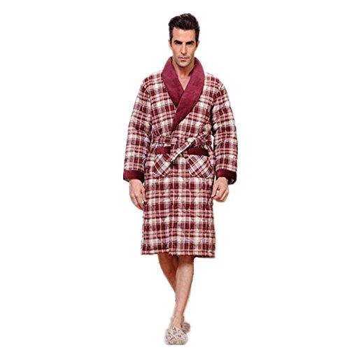 LIUDOU Cotone camicia da notte in cotone invernale accappatoio accappatoio