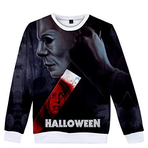 YUANOU Trend Michael Myers Halloween 3D-Digitaldruck Jungen Männlich Und Weiblich Lose Rundhalsausschnitt Langärmeliger Pullover Kind