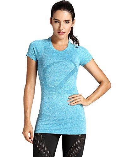 CRZ YOGA Femme Vêtement de Sport à Manches Courtes Chemise Yoga Longue Bleu Paon