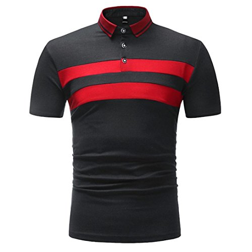 Polo Herrenhemd Striped Top Slim Fit T-Shirt Kurzarmbluse GreatestPAK,Schwarz1,L -
