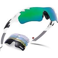Carfia Sport Sonnenbrille UV400 Schutz Polarisierte Sonnenbrille Sportbrille für Fahren, Fahrrad, Golf, Angeln Baseball Wandern, 5 Wechselbare Linsen