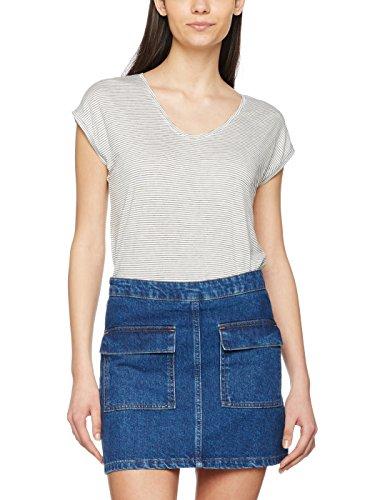 PIECES Damen T-Shirt Pcbillo Tee NOOS, Mehrfarbig (Bright White Stripes:Black), 36 (Herstellergröße: S) (T-shirts Französisch-gestreiften)