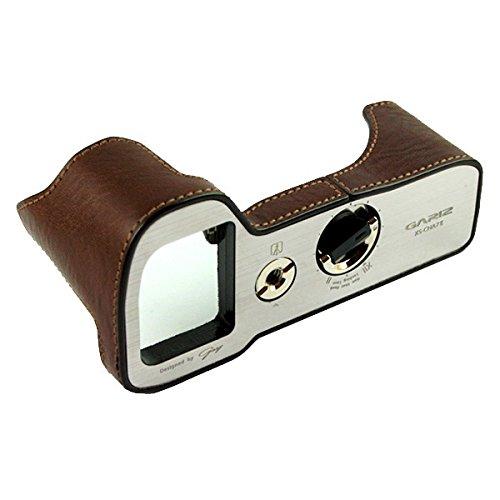 GARIZ Echtleder Designer Halb-Tasche für Sony Alpha 7 II, A7S II und 7R II bzw. A7 Mark 2, A7S Mark 2 und A7R Mark 2 (Kameratasche, Ledertasche, Tasche, Fototasche) mit gebürstetem Aluminiumboden und vielen funktionellen Details (XS-CHA7IIBR) ...(powered by SIOCORE)