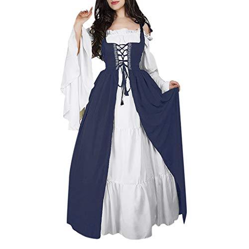 Damen Mittelalter Party Kostüme Kleid, Rovinci Vintage Ballkleid Bodenlänge Mittelalterliche Kleid mit Trompetenärmel Gothic Prinzessin Renaissance Partykleid Maxikleid Lace up Cosplay ()