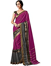 Pramukh Suppliers Women's Striped Saree With Blouse Piece