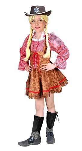 Cowgirl Kostüm braun-rot für Mädchen | Größe 116 | 1-teiliges Western Kostüm | Sheriff Faschingskostüm für Kinder | Wilder Westen Verkleidung (Karierten Uniform Rot)