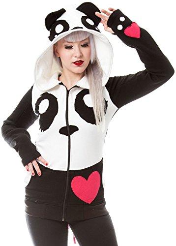 Killer Panda -  Felpa con cappuccio  - Maniche lunghe  - Donna nero M