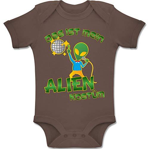 Aliens Kostüm Baby - Karneval und Fasching Baby - Das ist Mein Alien Kostüm Disco - 6-12 Monate - Braun - BZ10 - Baby Body Kurzarm Jungen Mädchen