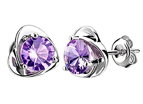Yidarton Silver Plated Stud Earrings Handmade Crystal Earrings with Gift Box (Purple)