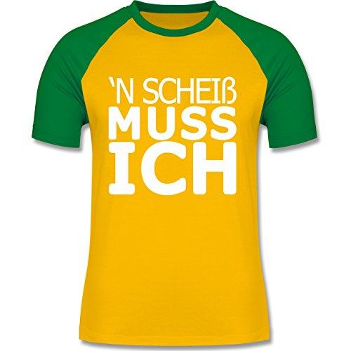 Shirtracer Statement Shirts - 'N Scheiß muss Ich - Herren Baseball Shirt Gelb/Grün