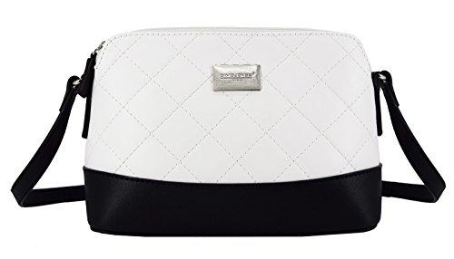 David Jones - Damen Gestepptes Leder Tasche - Steppmuster Klassisch Quilted Bicolor Umhängetasche - Viele Taschen Schultertasche - Luxus Mittelgroße Starre Handtasche Frauen Abendtasche - Weiß (Gesteppte Klassische Tasche)