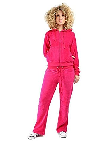 LADIES VELOUR TRACKSUITS, VELOUR HOODIE AND JOGGING PANTS (3XL (UK SIZE18), Hot Pink)
