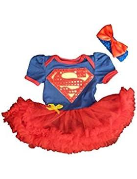 Travestimento per carnevale, per bambine, pagliaccetto, motivo supergirl