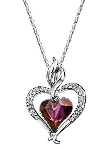 Neoglory Jewellery mit Swarovski® Elements Kristall Silber Halskette mit Anhänger Herz (Mehrere Kostüm Person)