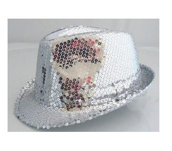 COOLER TRILBY PARTY HUT GLITZER PAILLETTEN SILBER