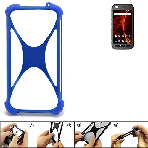 K-S-Trade Handyhülle für Caterpillar Cat S41 Dual-SIM Silikon Schutz Hülle Cover Case Bumper Silikoncase TPU Softcase Schutzhülle Smartphone Stoßschutz, blau (1x)
