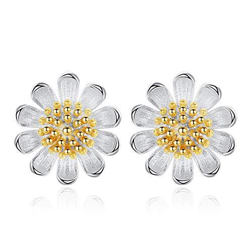 Frauen Daisy (MNGGNM Einfache Mode Silber Ohrstecker Daisy Sun Flower Form Ohrstecker Für Frauen Schmuck ErklärungPendientes Brincos)