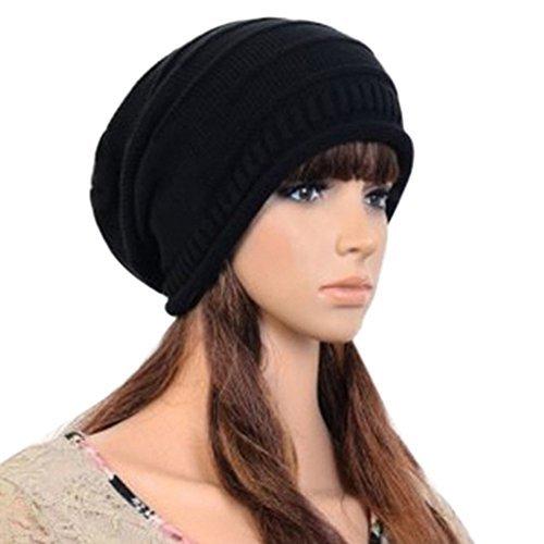 Fashion Hip-Hop Warm Soft Stretch Knit Crochet Slouch Beanie Hat Skull Cap (schwarz) (Skull Knit Beanie)