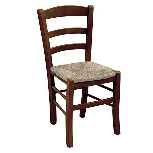 Okaffarefatto maddaloni sedia in legno massello colore noce scuro con seduta in paglia per ristorante,casa, mod. paesana robusto con spessore gambe da mm 36 x mm 40 nuova già montata