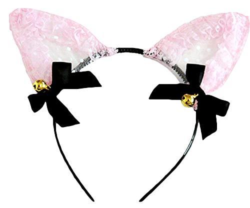 UPLEYING Bell Kitty Cat Ear Stirnband Cosplay Anzug (Pink) (Pink Kitty Halloween Kostüm)