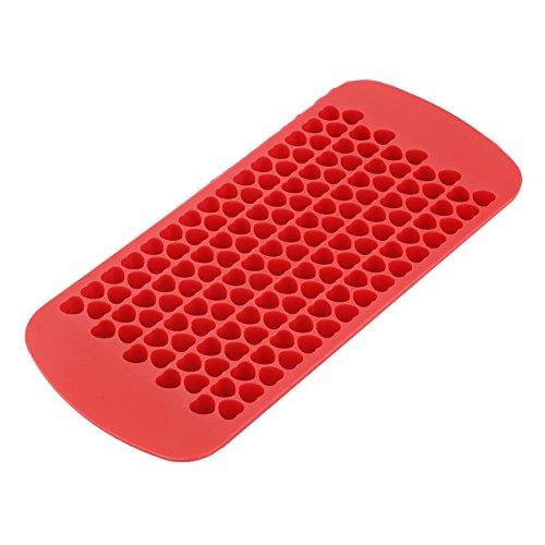 Eiswürfelformen Eiswürfelschalen Herzförmigen Eiswürfelbereiter für Schokoladensüßigkeiten Getränke Behälter Form Werkzeuge 150 Hohlraum Silikon(Rot)