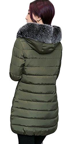 Ghope Femme Fille Manteau Parka Automne Hiver Jacket Veste à Capuche Fourrure Courte Fausse Chaud Doudoune Blouson Parka Veston Hoodie matelassé Hoodie GHCT22 Armée Vert