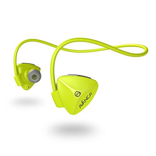 Avanca D1 kabelloser Sport-Headset mit Bluetooth 4.0 NFC 100 Prozent Bewegungsfreiheit während Sporttrainings Neongelb (Kabelloser Kopfhörer Für Läufer)