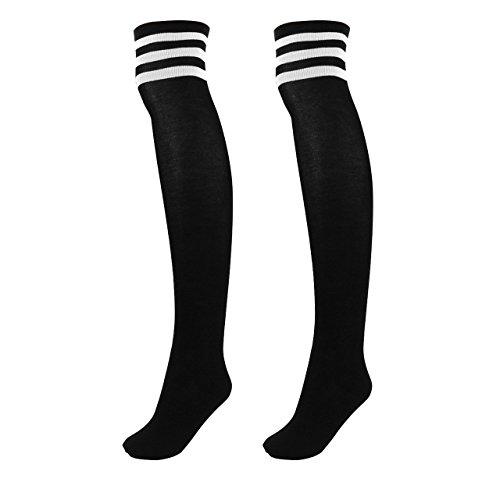 CHIC DIARY Damen Mädchen Kinder Strümpfe Overknee Kniestrümpfe gestreifte Sportsocken College Socks Baumwollstrümpfe, Weiß Streifen auf Schwarz, One size (Mädchen Weiße Kniestrümpfe)
