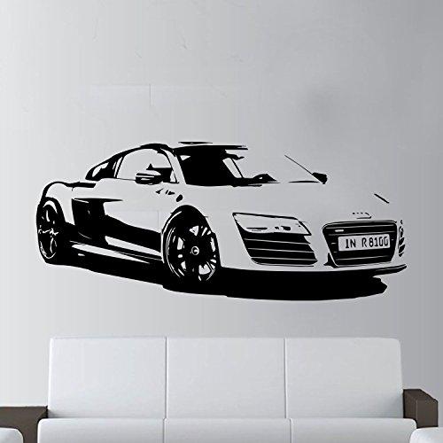 XL groß Auto Audi R8Coupe Sport Super gratis Rakel. Art Wand sticker/aufkleber, kirschrot, Cherry Red Xtra Large - 135cm W x 58cm H As Pict - Cherry Wand