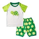 Kinderanzüge 2-7 Jahre alt Jungen Kinderbekleidung Kurzarm Cartoon Schildkröten Drucke Tops + Hosen Hause Kleidung Kinder Pyjama Set(Grün, 7Y)
